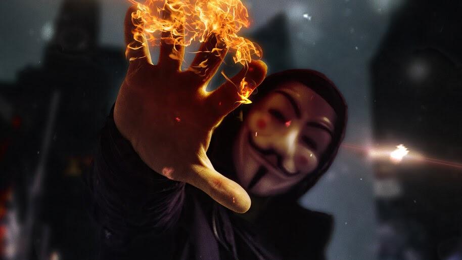 Anonymous, Mask, Burning, Hand, 4K, #6.1056