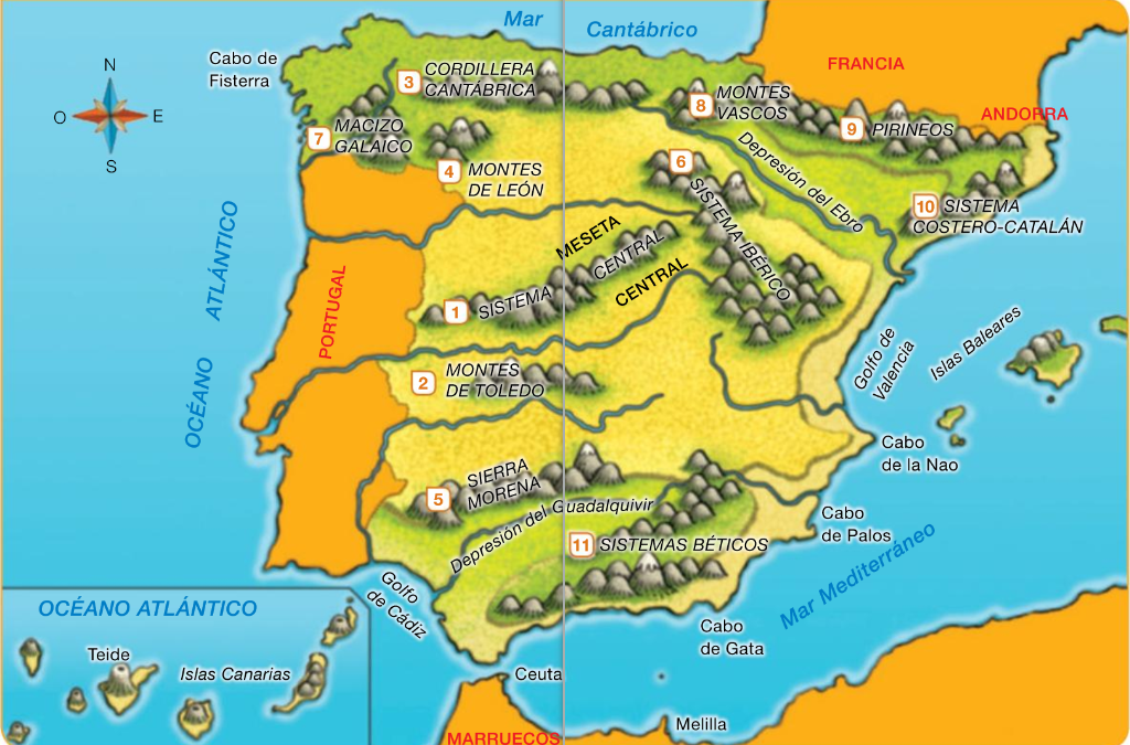 Map Of Spain Rivers And Mountains.First Graders Daoiz Unit 4 Spain