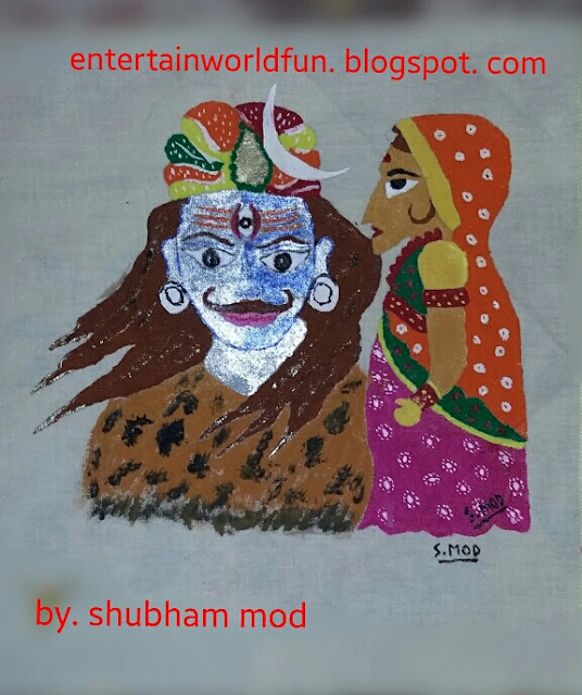 Lord Shiva Rajasthani Style Fabric Painting Techniques