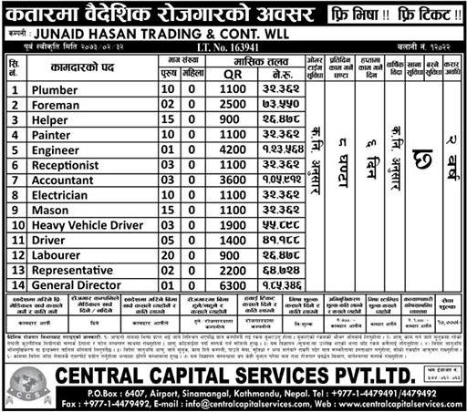 Free Visa, Free Ticket, Jobs For Nepali In Qatar Salary -Rs.1,26,000/