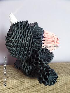 Kłapouchy - osiołek origami modułowe.