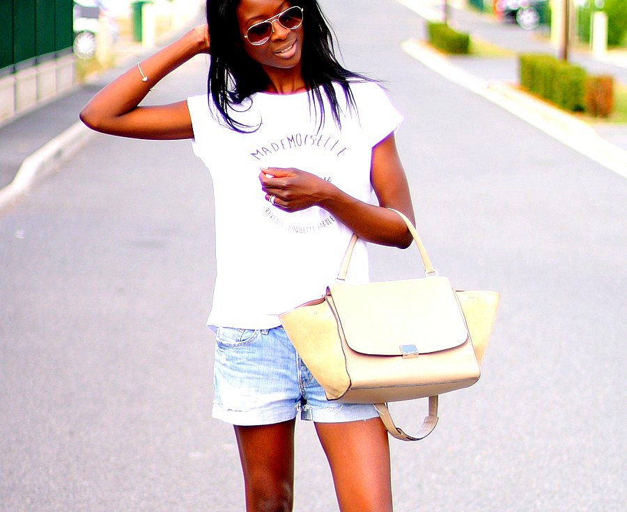 celine-trapeze-mademoiseille-merveilleuse-sandales-leopard-short-jeans-t-shirt-imprime-blog-mode