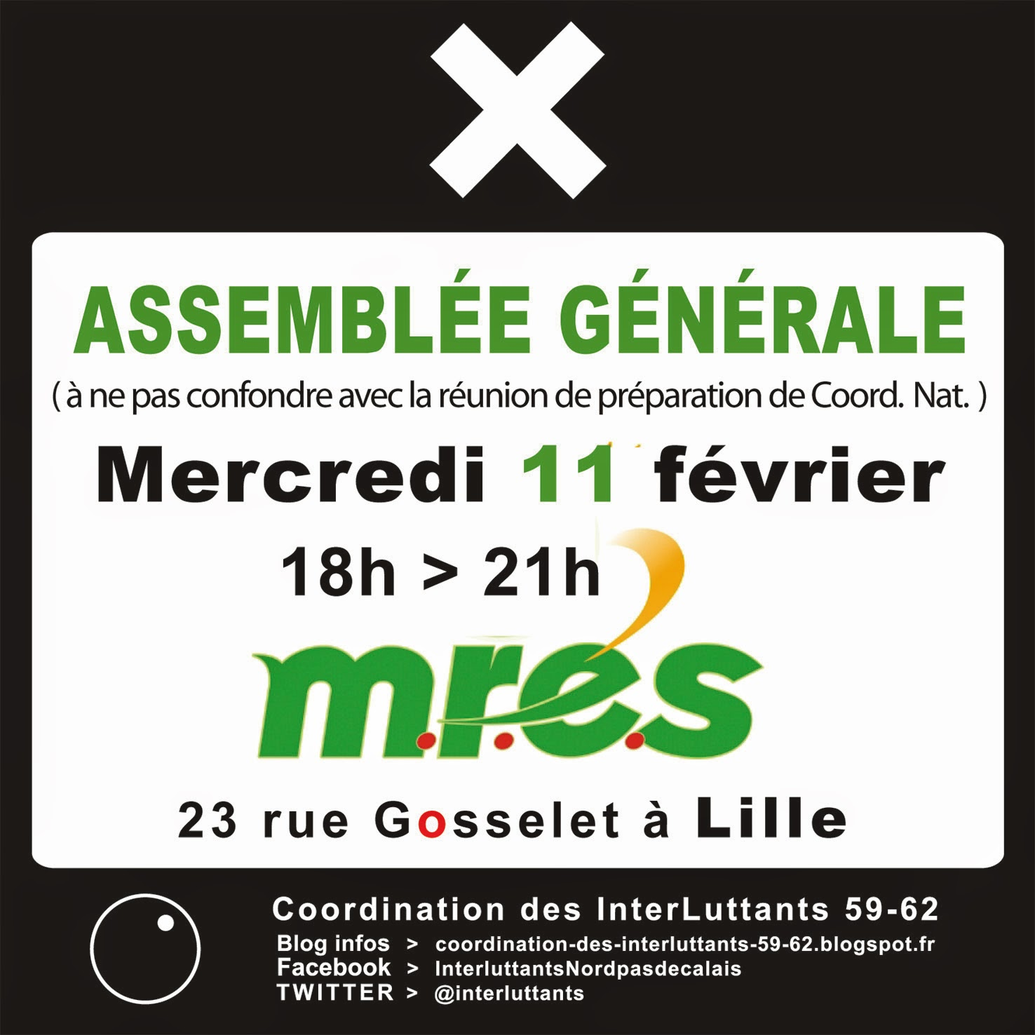 ASSEMBLÉE GÉNÉRALE / Mercredi 11 février - 18h00 > 21h00 / M.R.E.S (Maison Régionale de l'Environnement et des Solidarités) / 23 rue Gosselet - LILLE