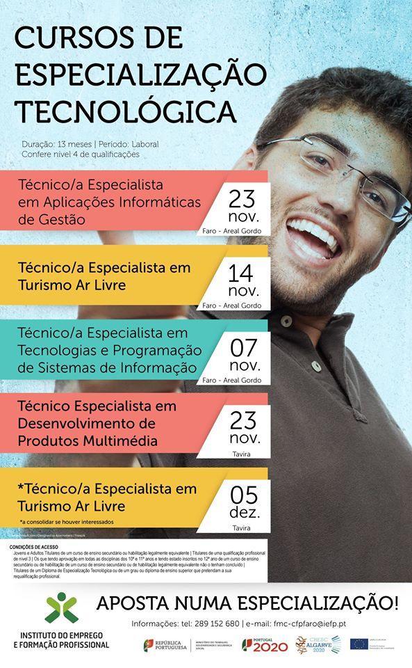 Cursos CET nível 4 em Faro e Tavira