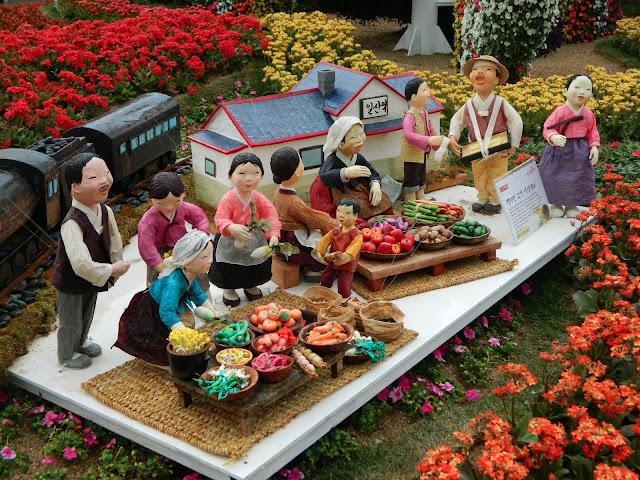 Korean family selling veggies