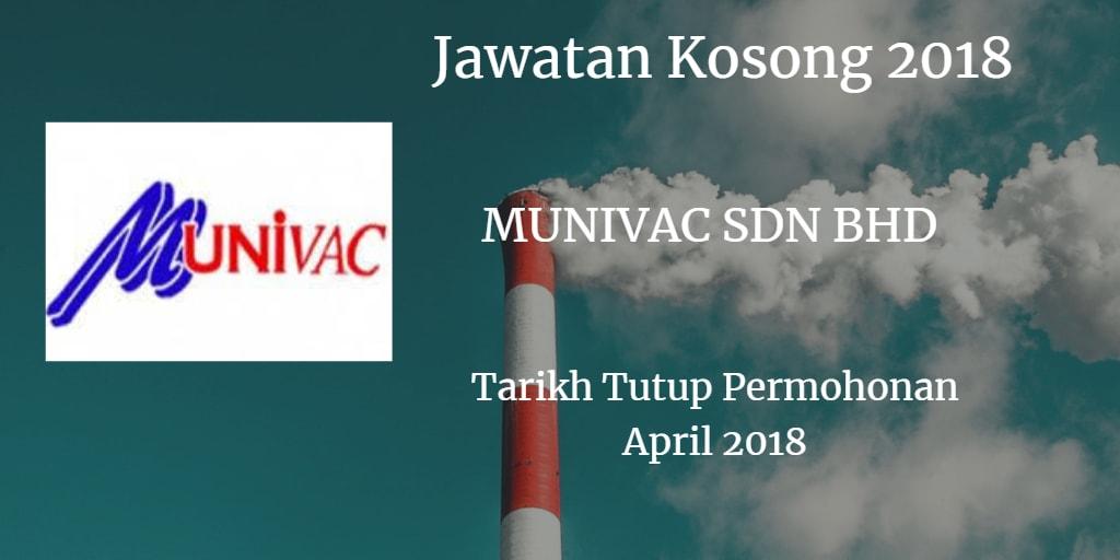 Jawatan Kosong Munivac Sdn Bhd April 2018