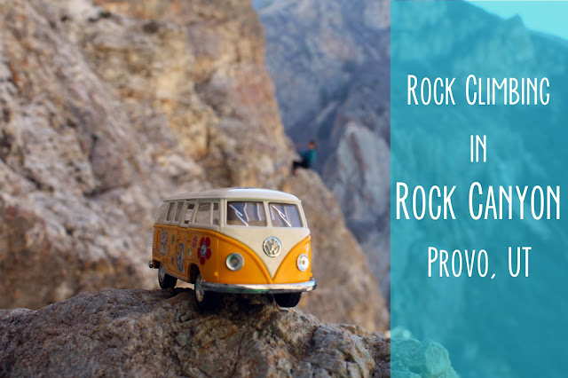 Title Card: Rock Climbing in Rock Canyon, Provo, UT. Yellow Van and Rock Climber
