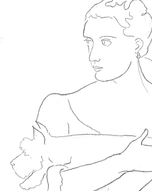 lady, schnauzer, woman, pet, dog, perro, art, arte, sarah, myers, figurative, contemporary, minimalist, minimal, line, line-drawing, fashion, sketch, dibujo, dessin, portrait, chien, hold, seated, simple, charcoal, black, white, design, detail, close-up