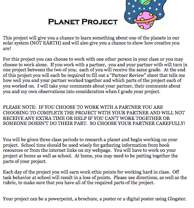 Mrs. Keel's Science Class: 8th Grade Planet Project
