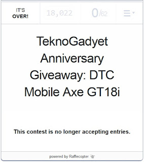 DTC Mobile Axe GT18i Giveaway Winner