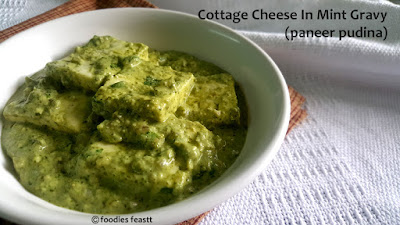 Cottage Cheese in Mint Gravy / Paneer Pudina