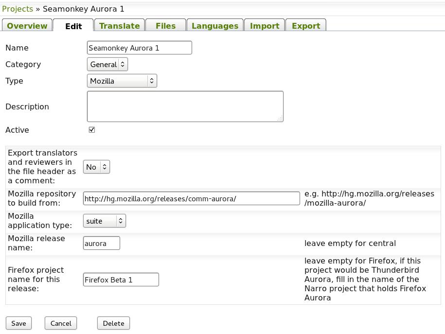 The Narro project: The Mozilla build system inside a Narro plugin