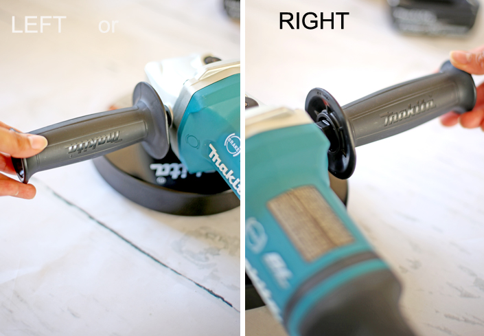 The side grip or handle can be installed on either side of the tool.