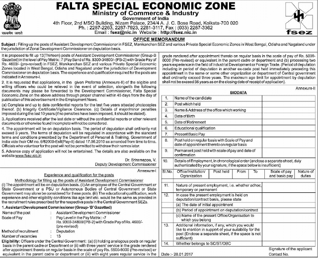 FSEZ Recruitment 2017