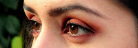 Orange, red, a little brown, for an autumn ispired make up, easy to make.