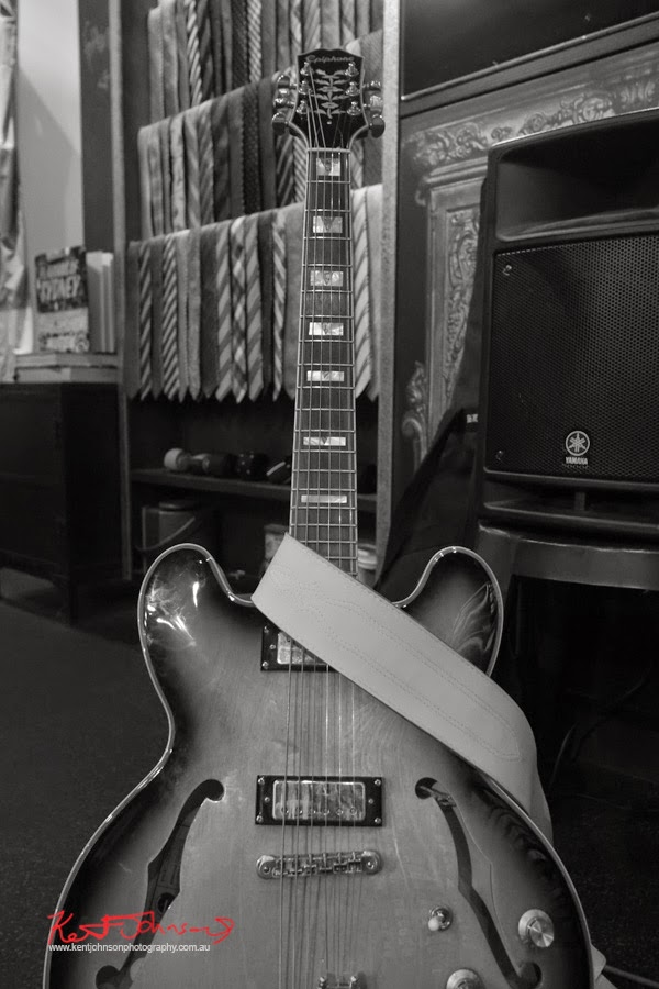 Epiphone electric guitar, and neckties! Tequila Twins play Ganton Man competition at Shirt Bar Sydney - Photography by Kent Johnson.