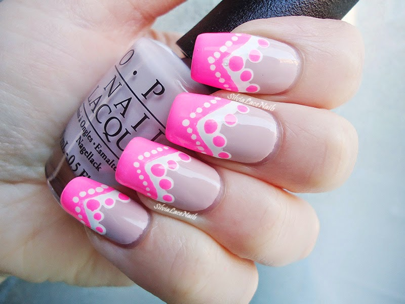 Neon and nude decorated chevron nail art