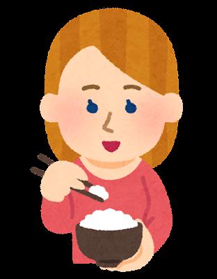箸でご飯を食べる外国人のイラスト(女性)