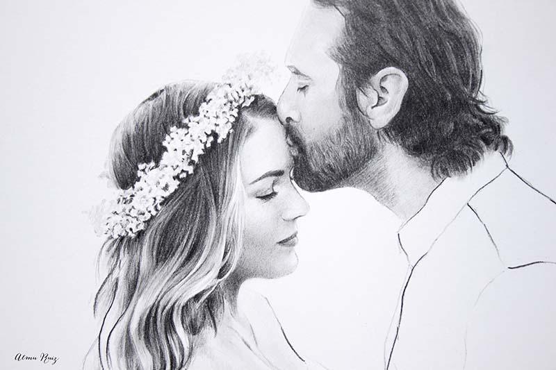 Retrato de pareja dibujado a lápiz