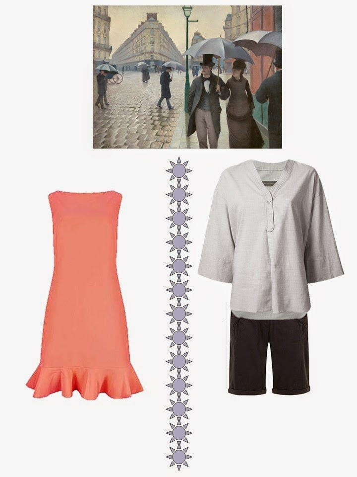 2 outifts based on the painting Paris Street; Rainy Day by Gustave Caillebotte