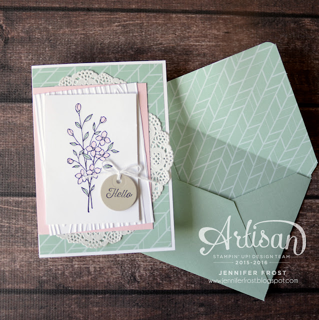 Touches of Texture, Stampin' Up!, Flourishing Phrases, Envelope Paper, Papercraft by Jennifer Frost