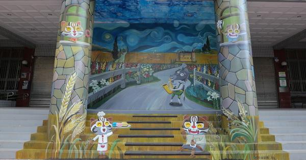 《台中.大雅》大雅區公所互動3D彩繪|石虎家族歐米馬結合在地特色進入梵谷名畫