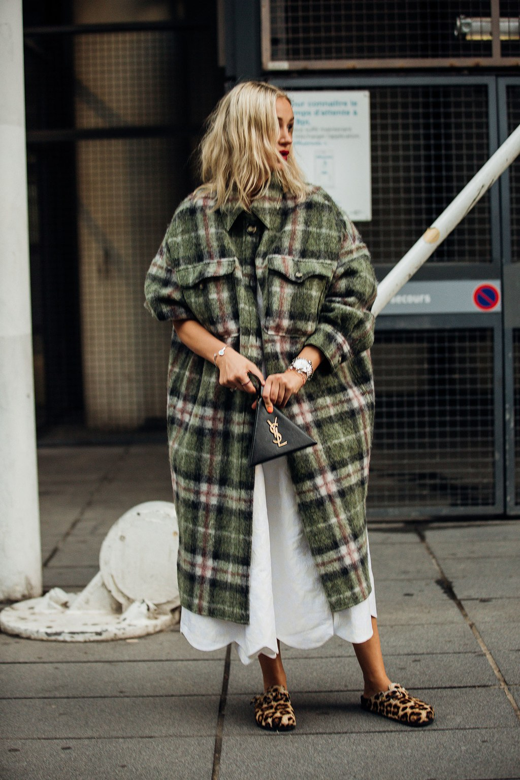 This Street Style Look Is the Epitome of Cozy-Cool — Long Plaid Wool Coat and Leopard-Print Clogs