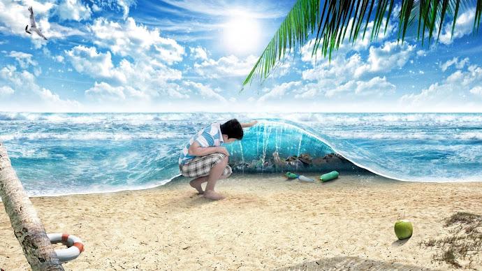 Wallpaper: Digital Art - Sand, Ocean & Beach