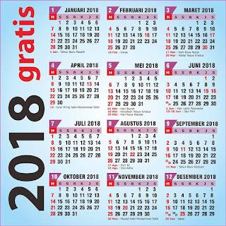 Download Gratis Kalender 2018 Masehi / 1439 Hijriyah Indonesia Beserta File Corel Bisa Edit