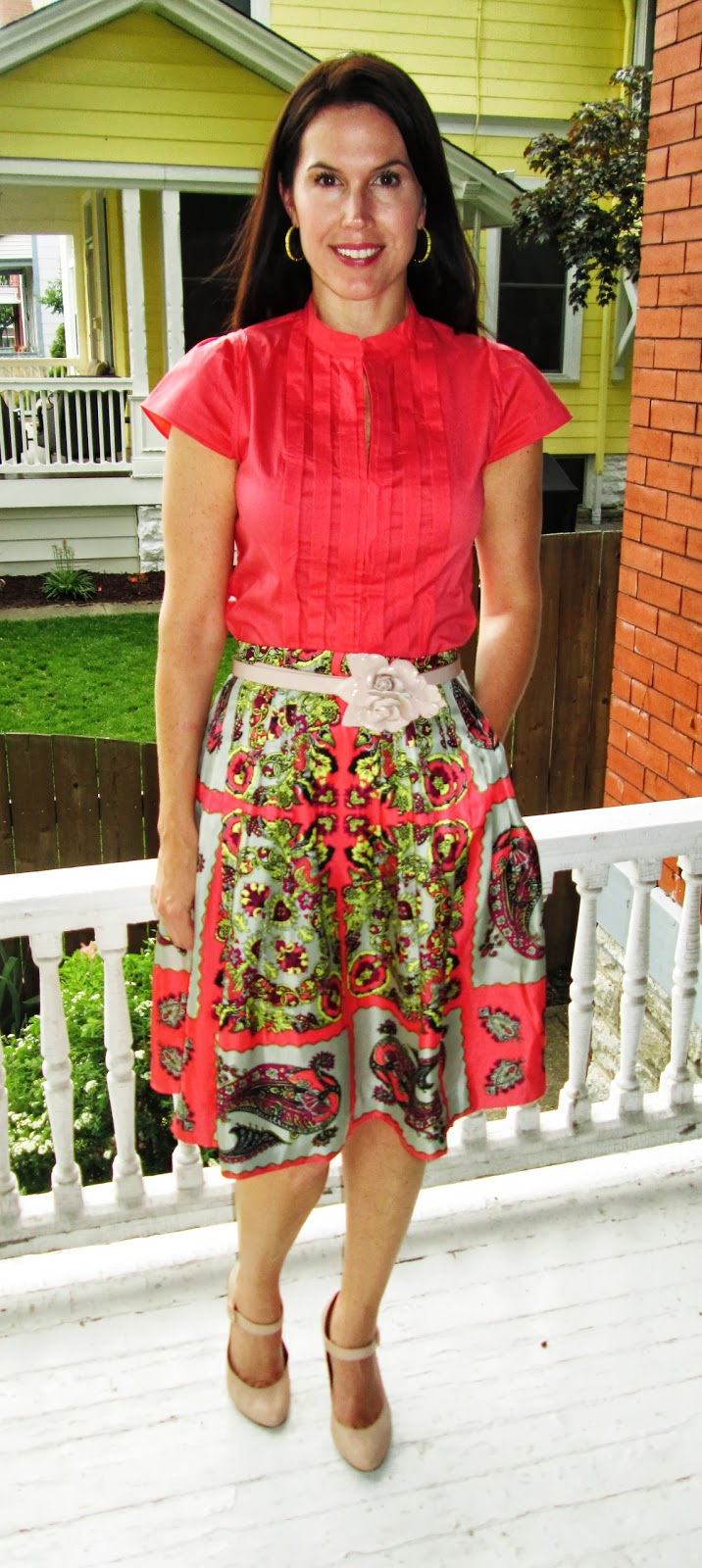 732c34be955b2 J.Crew Collection silk kerchief paisley skirt (size 6)  J.Crew Factory  Pleated blouse (size small)  Banana Republic