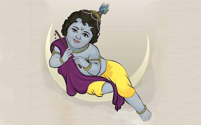 Lord Baby Krishna HD Wallpaper In White Background