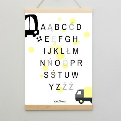 plakat szary żołty pojazdy