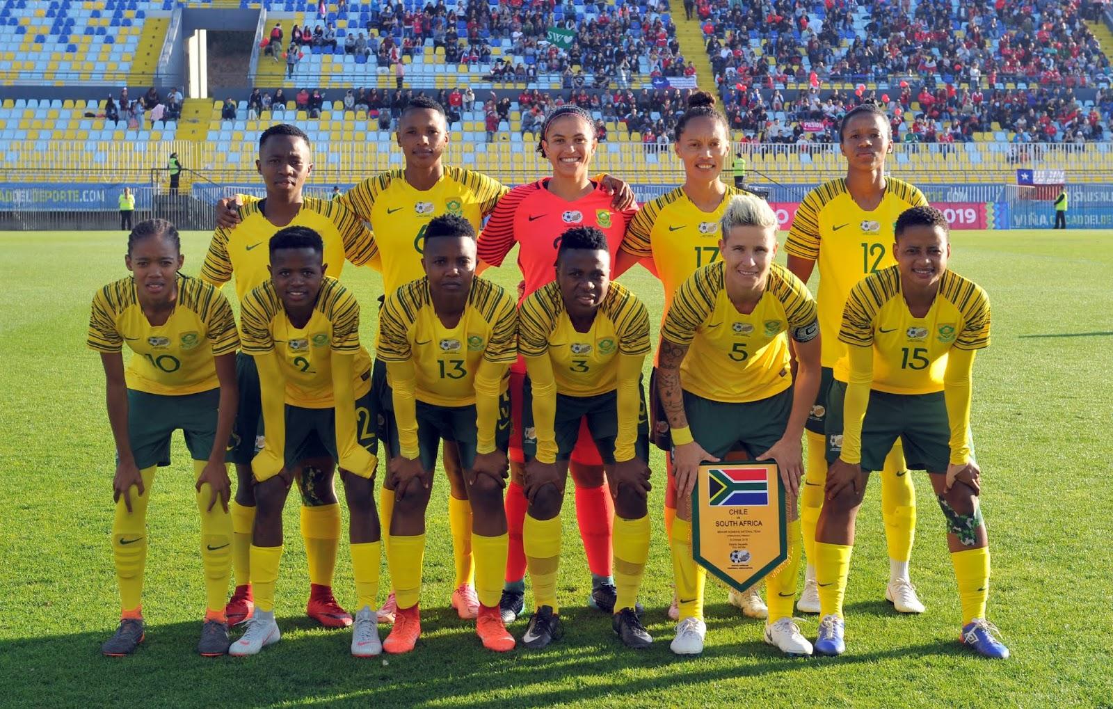 Formación de selección femenina de Sudáfrica ante Chile, amistoso disputado el 6 de octubre de 2018