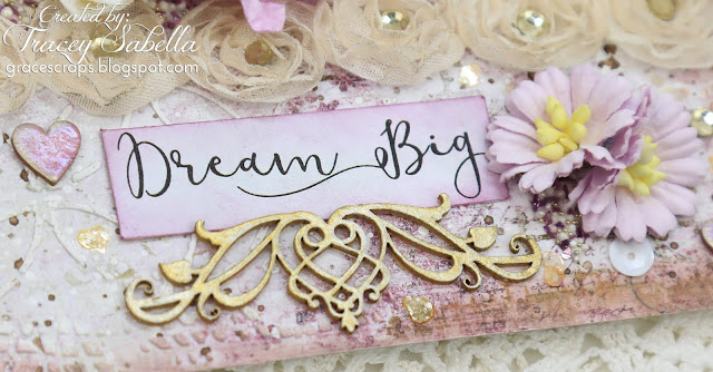 """Dream Big"" Shabby Mixed Media Card by Tracey Sabella for Scrap & Craft: #studio75 #handmadecard #mixedmedia #mixedmediacard #shabbychic #shabbychiccard #papercrafting #flowercard #chipboard #lindysgang #lindysstampgang #Finnabair #Primamarketing #wildorchidcrafts #helmar #usartquestprills #bluefernstudios #agateria #scrapiniec #timholtz #rangerink #artanthology, Anemone Chipboard, Stampendous"
