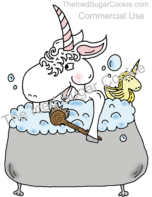 Unicorn Taking Bath With Unicorn Rubber Ducky Clipart Illustration Drawing by The Iced Sugar Cookie  Buy Now