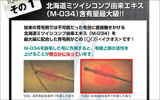 M-034を最大級に配合したIQOS(イクオス)の圧倒的育毛力とは?
