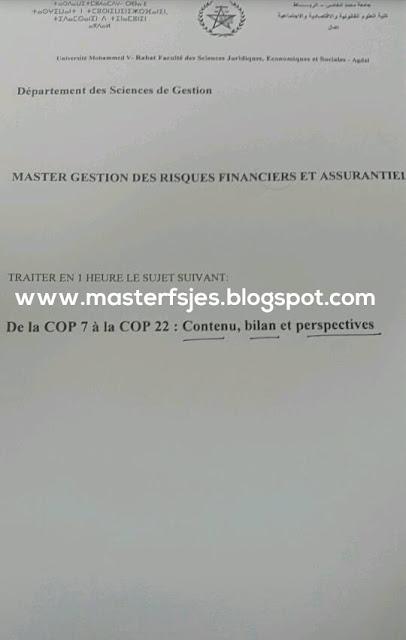 Exemple de Concours Master Gestion des Risques Financiers et Assurantiels (GRFA) 2016-2017 - Fsjes Agdal