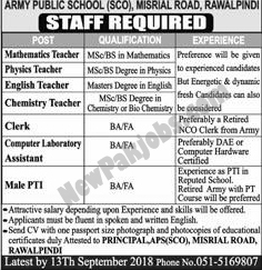 Army Public School & College Rawalpindi Required Faculty Staff