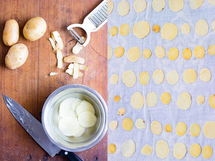 How to make sun dried potato chips recipe, batate sandige recipe, aloogadde sandige recipe, aloo chips, aloo sandge recipe, how to make aloo papad recipe, potato chips recipe at www.oneteaspoonoflife.com