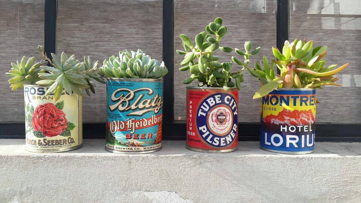 decoracion de estilo vintage con latas de conserva antiguas macetas