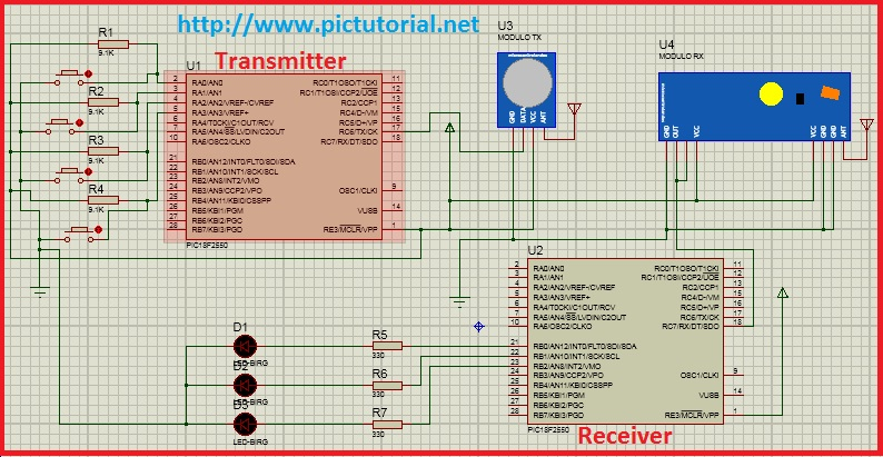 RF (433 MHz) Module Controlled LED Switching Project using Pic