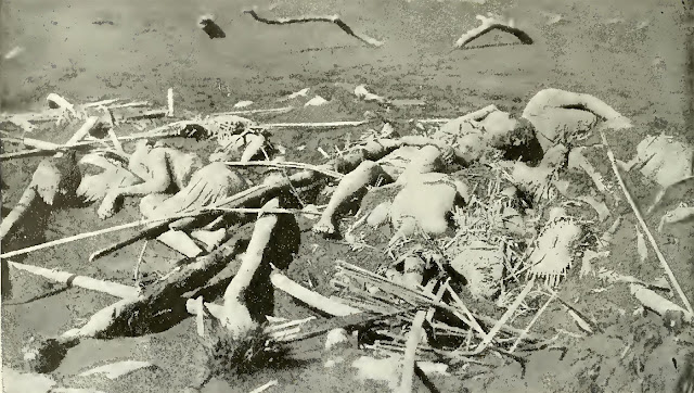 Some of the dead in the village of Bignay, smothered as they slept and buried in the ruins of their fallen houses.