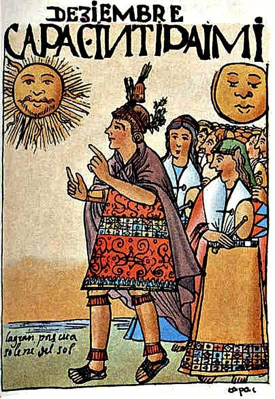 El cronista español Juan Polo de Ondegardo escribió que los sacerdotes incas de Cuzco podían volar sobre la copa de los árboles. En la imagen, ilustración del Inti Raimi, aparecida en el libro «Nueva crónica y buen gobierno» (1615) de Guamán Poma De Ayala.