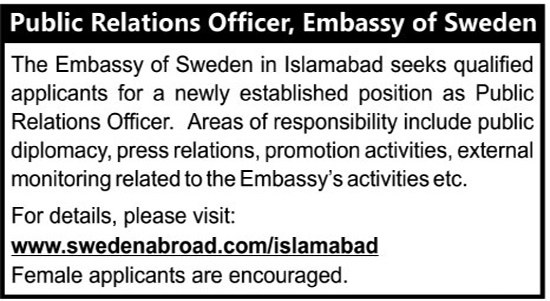 Sweden Embassy Public Relations Officer Islamabad Jobs
