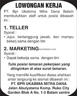 Lowongan Kerja PT. BPR Ukabima Mitra Dana Batam