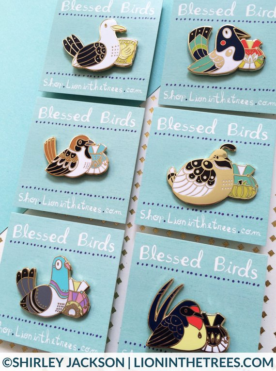 Lion in the Trees's bird enamel pin magpie, pigeon, swallow, sparrow, seagull, quail