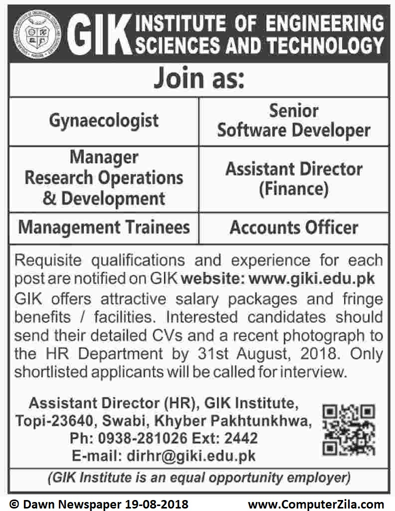 Jobs at GIK at Ghulam Ishaq Khan Institute of Engineering Sciences and Technology