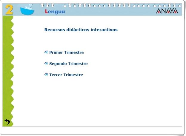 """""""Recursos Didácticos Interactivos Anaya. Lengua Española de 2º de Primaria"""" (Abre la puerta)"""