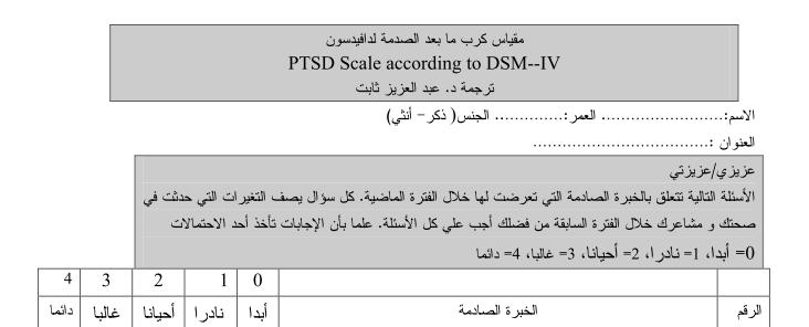 مقياس الكرب ما بعد الصدمة لدافيد دافيدسون pdf