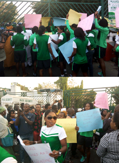 Super Falcons Storm NASS To Protest Non-Payment Of Their Allowances (Photos)